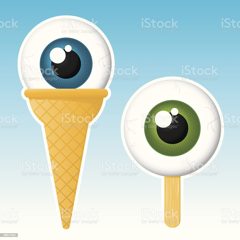 Eyeball popsicle / ice cream - vector royalty-free stock vector art