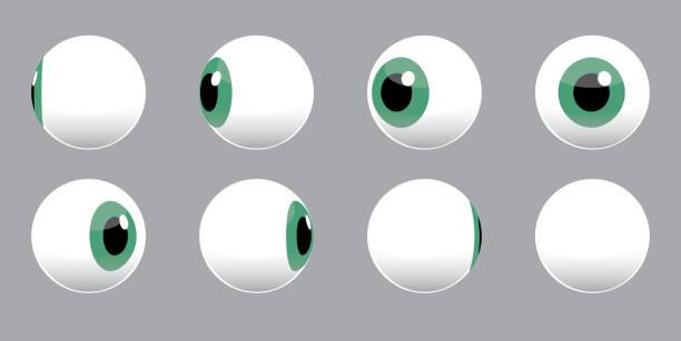ilustraciones, imágenes clip art, dibujos animados e iconos de stock de ilustración vectorial de giro de globo ocular 3d - globo ocular