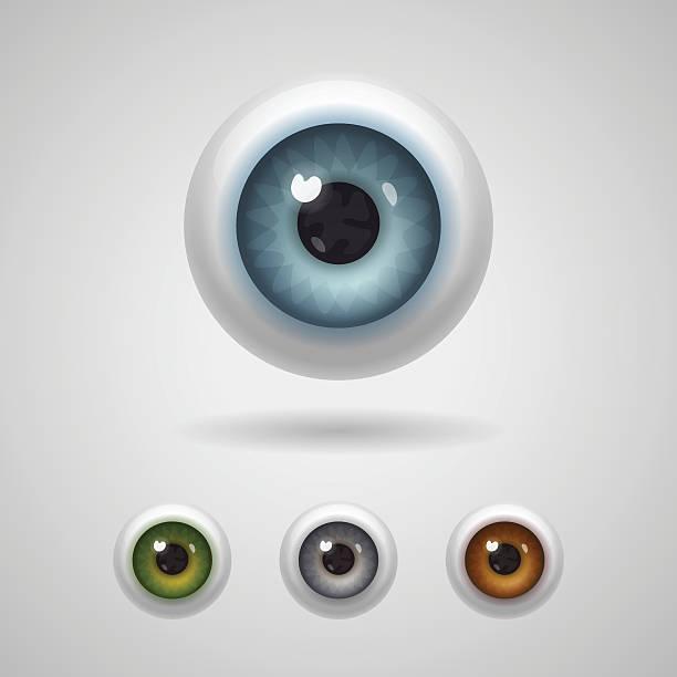глазные яблоки с большим ирисов - глазное яблоко stock illustrations