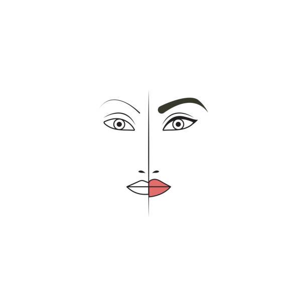 bildbanksillustrationer, clip art samt tecknat material och ikoner med ögonbryns-, ögon-och läpp tatuering - makeup artist
