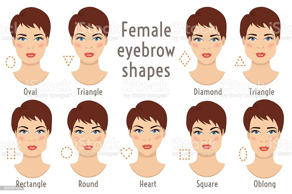 Eyebrow shapes suitable to different woman type face. Vector illustration. – Vektorgrafik