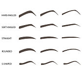Set of eyebrow shapes. Various types of eyebrows. Trimming. Vector illustration.. Makeup tips.