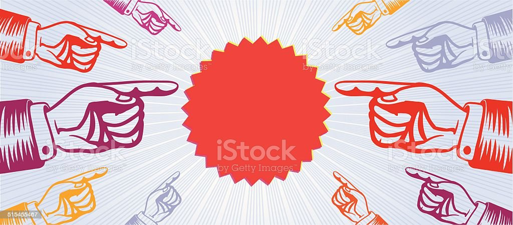 Eye-catching group of hands pointing finger indicating special offer banner vector art illustration