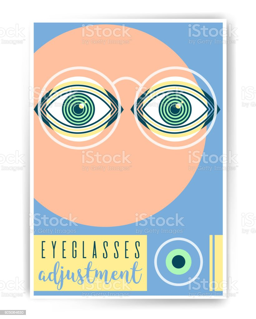 61e5a4ffcb Eyeglasses ajustment. Ophthalmology abstract poster design with  illustration. Human eye vector icon design