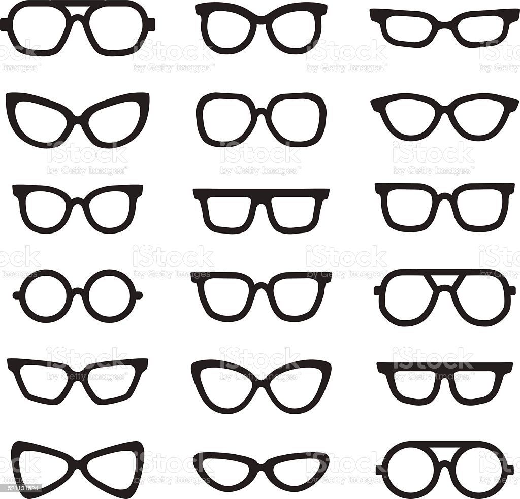 Eyeglasses black silhouettes vector icons set. Minimalistic design. vector art illustration