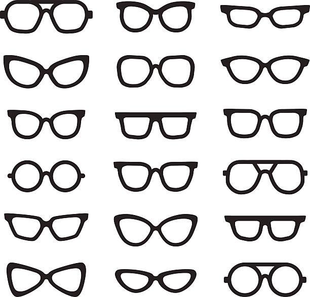 brillen schwarzen silhouetten-vektor-icons satz. minimalistisches gestaltung. - nerd stock-grafiken, -clipart, -cartoons und -symbole