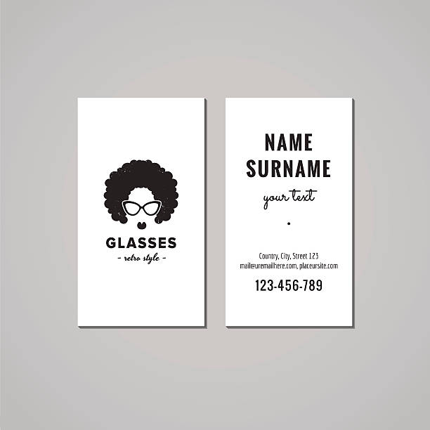 Eyeglasses business card design concept. Afro hair woman logo. vector art illustration