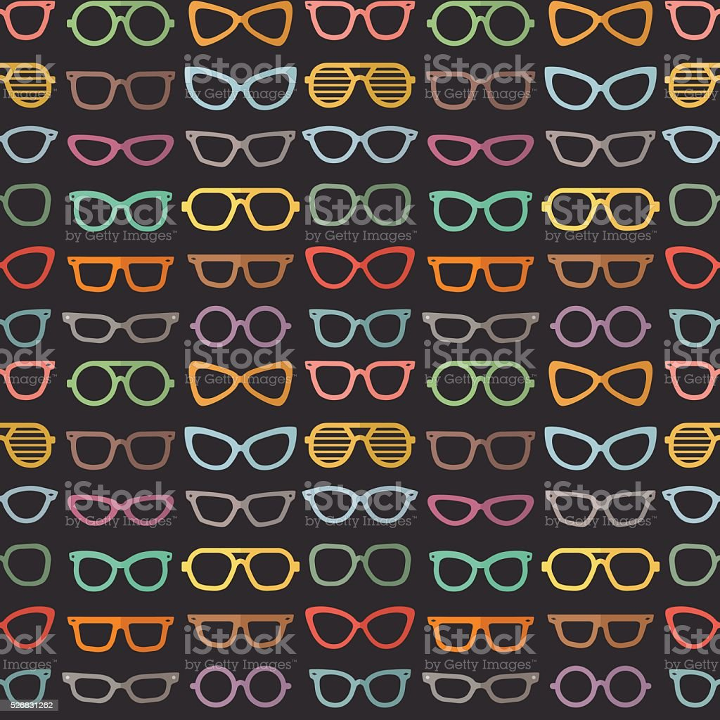 Eyeglasses flat multicolored vector seamless pattern. vector art illustration