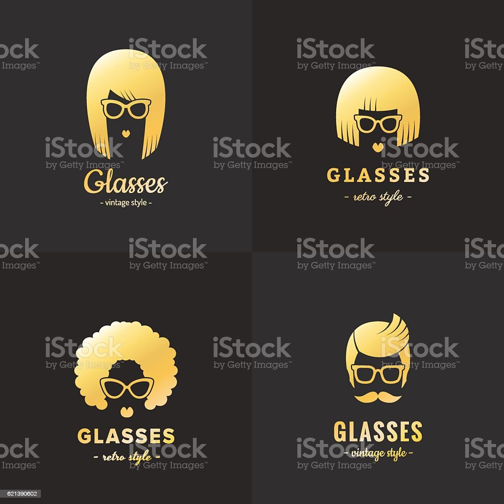 Eyeglasses gold logo vintage vector set (female and male). vector art illustration