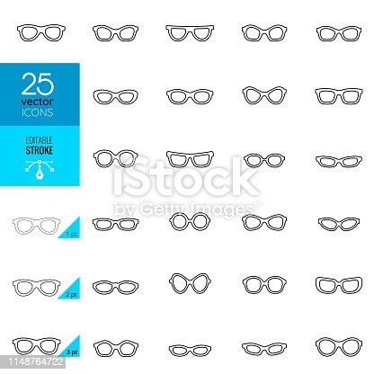 Eyeglasses Icons. Editable Stroke.