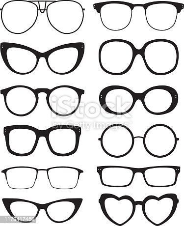 Vector illustration of twelve eyeglasses silhouettes.