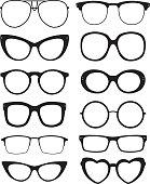 Vector illustration of twelve eyeglasses silhouettes.