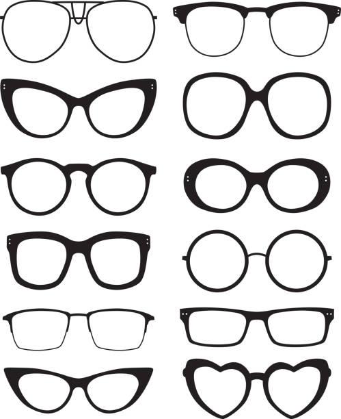 Eyeglasses Icons Vector illustration of twelve eyeglasses silhouettes. eyewear stock illustrations