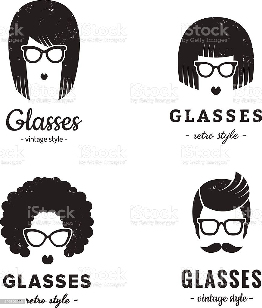 Eyeglasses logo vintage vector set. Hipster and retro style. vector art illustration