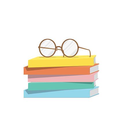 Eyeglasses on top stack books, Illustration vector.