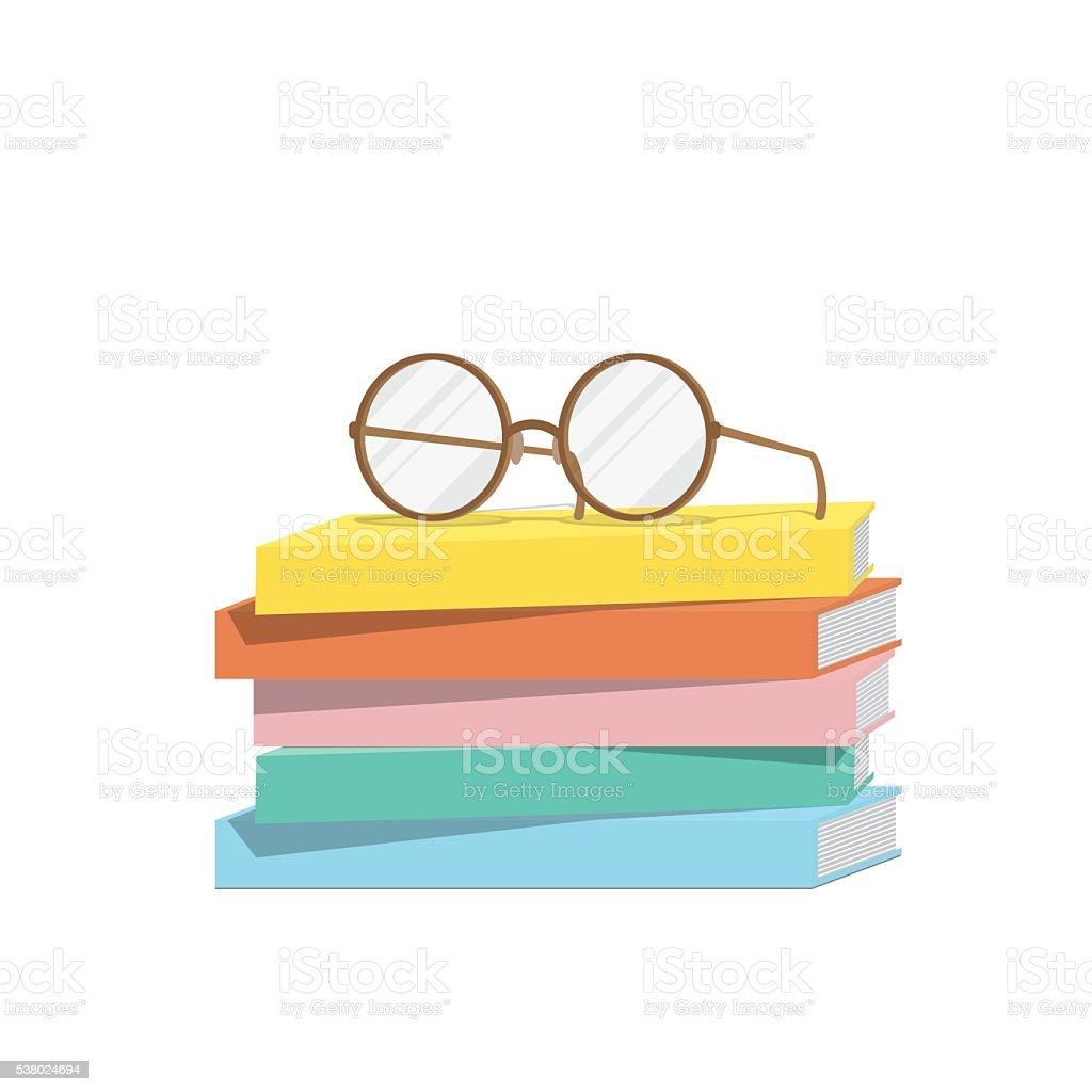 Eyeglasses on top stack books, Illustration vector. vector art illustration
