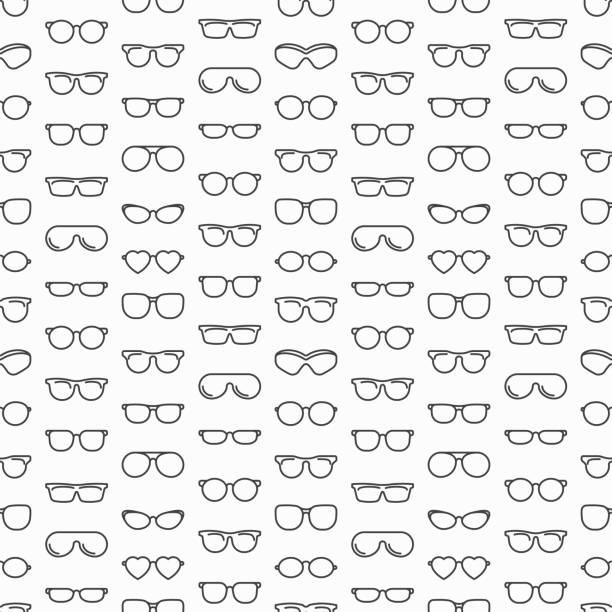 안경 얇은 라인 아이콘으로 완벽 한 패턴: 선글라스, 스포츠 안경, 직사각형, 애비에이 터, 고양이 눈, 타원형, 사치 스러운 큰 크기. 현대 벡터 일러스트입니다. - 안경 stock illustrations