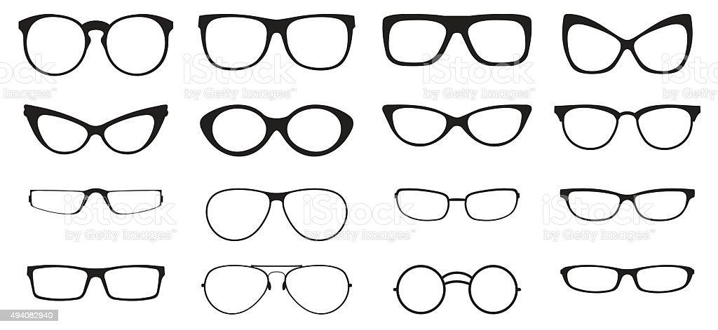 Eyeglasses silhouette set vector art illustration