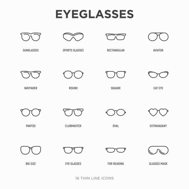 안경 얇은 라인 아이콘 세트 : 선글라스, 스포츠 안경, 직사각형, 에비에이터, wayfarer, 둥근, 정사각형, 고양이 눈, 타원형, 사치스러운, 큰 크기, 독서. 현대 벡터 그림입니다. - 안경 stock illustrations