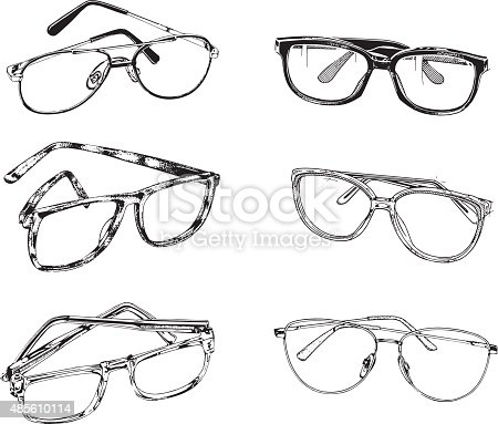 Illustrations of Eyeglasses in retro style.