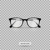 Eyeglasses. Vector illustration. Geek glasses isolated on a white background. Realistic icon black eyeglasses.
