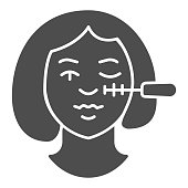 Eyelash brush and girl face solid icon, makeup routine concept, woman face and mascara sign on white background, Woman doing make up with mascara icon in glyph style. Vector graphics