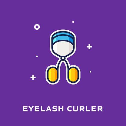 Eyelash Curler Flat Line Icon, Outline Vector Symbol Illustration.