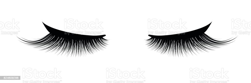 Eyelash extension. A beautiful make-up. Thick cilia. Mascara for volume and length. vector art illustration