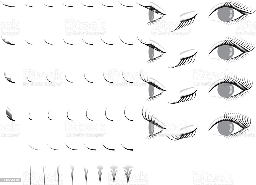 Eyelash extension. false eyelashes. vector art illustration