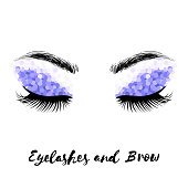 Eyelashes and brows makeup vector art, isolated on white.