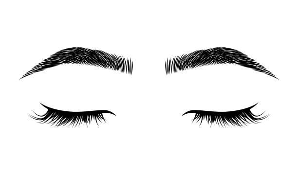 美容工作室的睫毛和眉毛向量標誌 - 睫毛 幅插畫檔、美工圖案、卡通及圖標