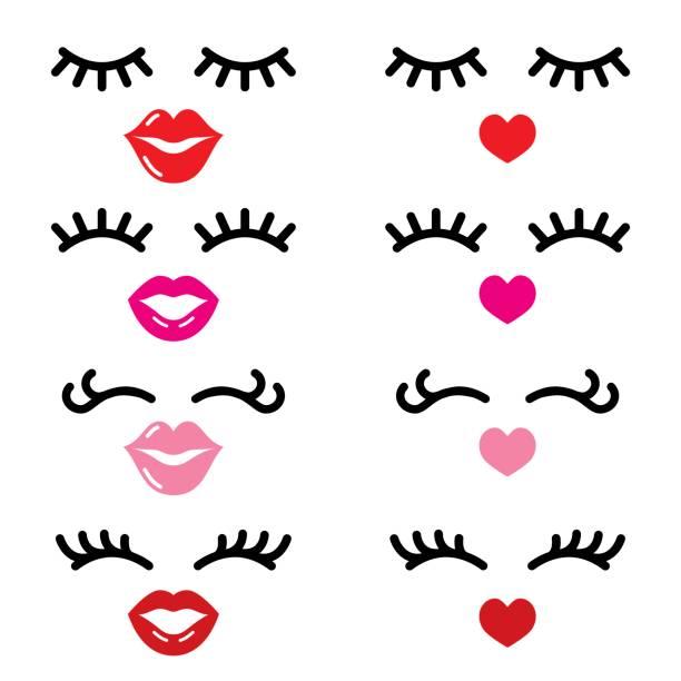 Cils et lèvres vector icônes, jolie fille visage, yeux fermés et les lèvres de coeur - concept beauté - Illustration vectorielle