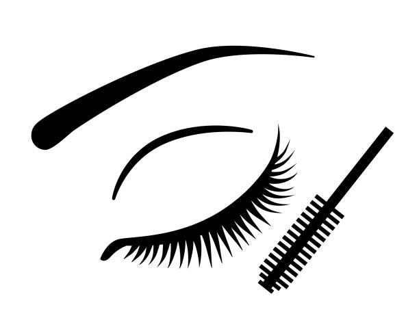 bildbanksillustrationer, clip art samt tecknat material och ikoner med ögonfransar och mascara vektor ikon - makeup artist
