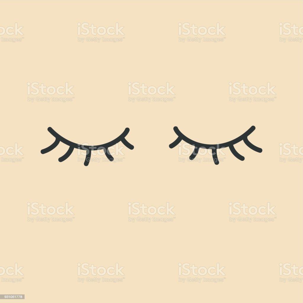Eyelashes. Closed eyes. vector art illustration