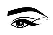 eyelashes, eye, eyebrows - stylized logo on a white background. eyesight, cosmetology, beautiful look, tattoo, makeup. black flat icon for beauty salon.