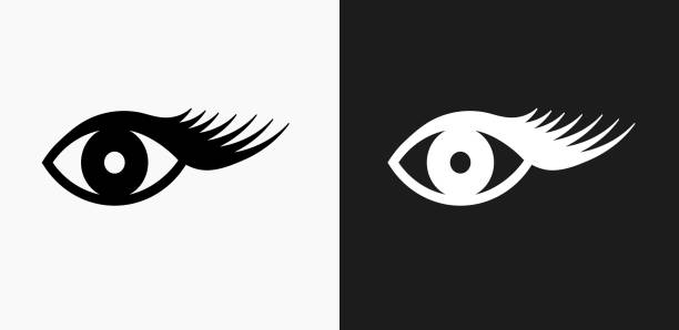 eyelashes icon on black and white vector backgrounds - pattern stock illustrations, clip art, cartoons, & icons