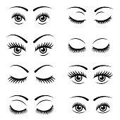 Eyelashes icon set , vector illustration