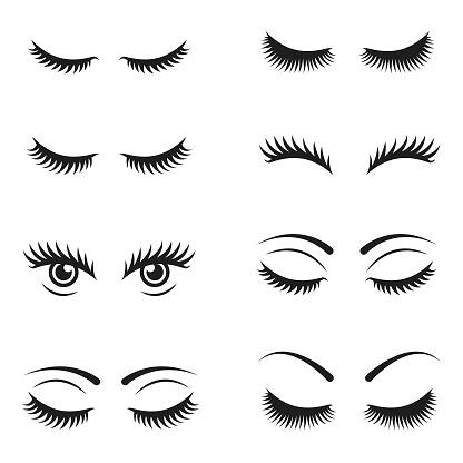 Eyelashes icon set