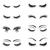 Eyelashes icon set