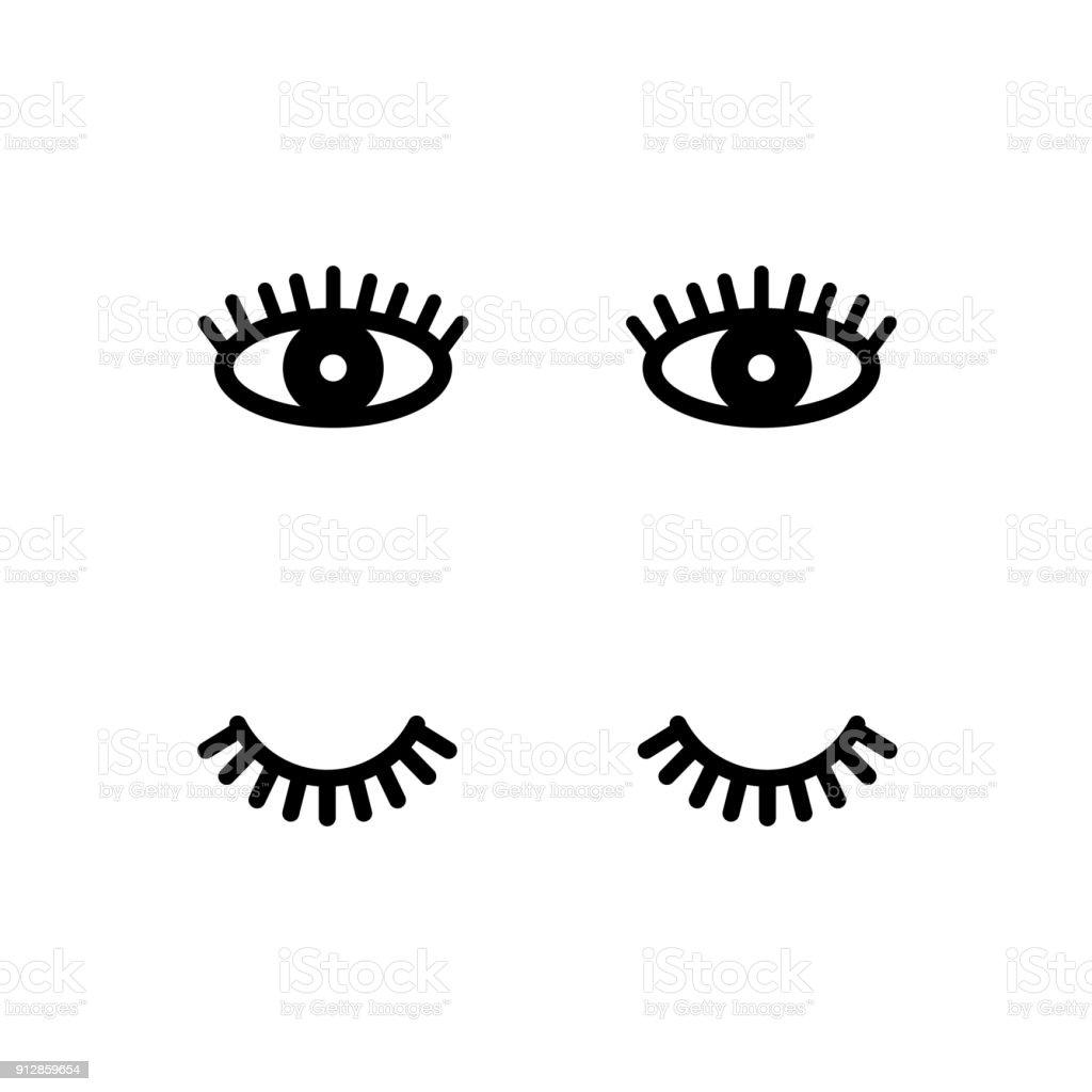 Eyelashes. Open and close eyes. Cute lashes. Vector illustration
