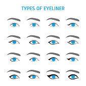 Eyeliner Stylish Make Up Thin Line Icon Set. Vector