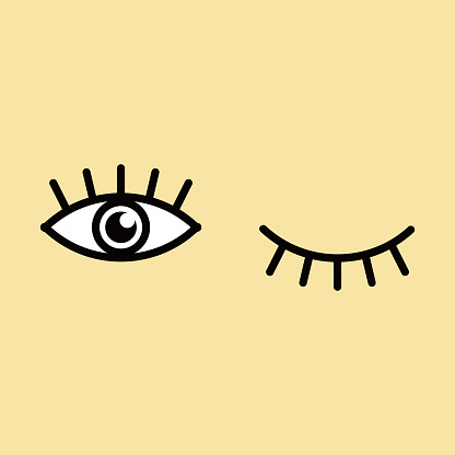 Eyes and eyelashes icon vector illustration. Isolated badge for website or app .