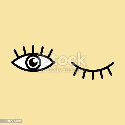 istock Eyes and eyelashes icon vector illustration. Isolated badge for website or app . 1205276156