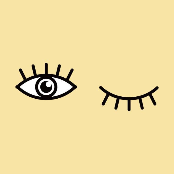 illustrazioni stock, clip art, cartoni animati e icone di tendenza di illustrazione vettoriale dell'icona occhi e ciglia. badge isolato per sito web o app . - fare l'occhiolino