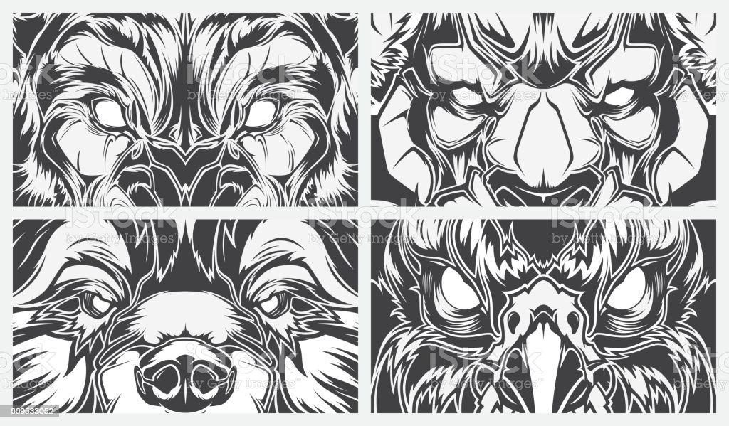 Eyes dangerous animals, tattoo style vector background vector art illustration
