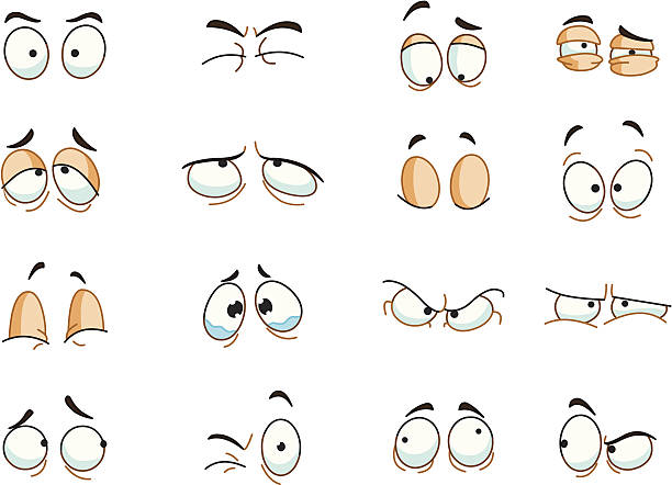 Eyes expressions Eyes expressions set tired stock illustrations