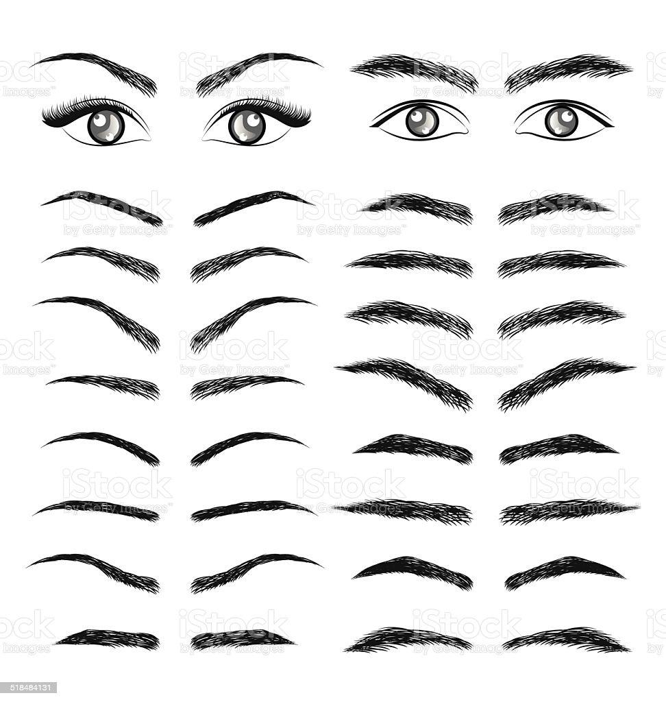 Augen und Augenbrauen Frauen und Mann - – Vektorgrafik