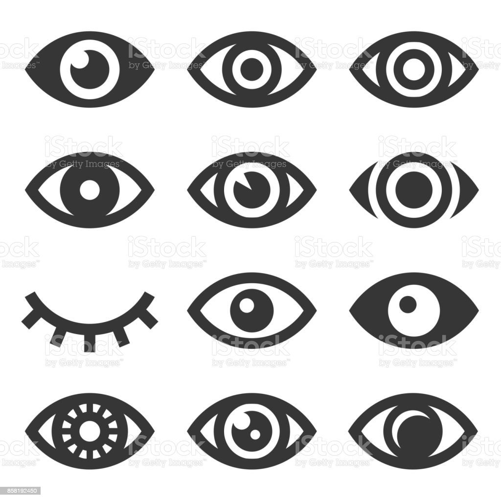 Eyes Icon Set vector art illustration