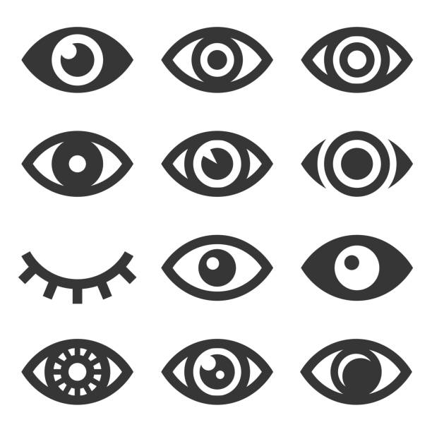 eyes icon set - глаз stock illustrations