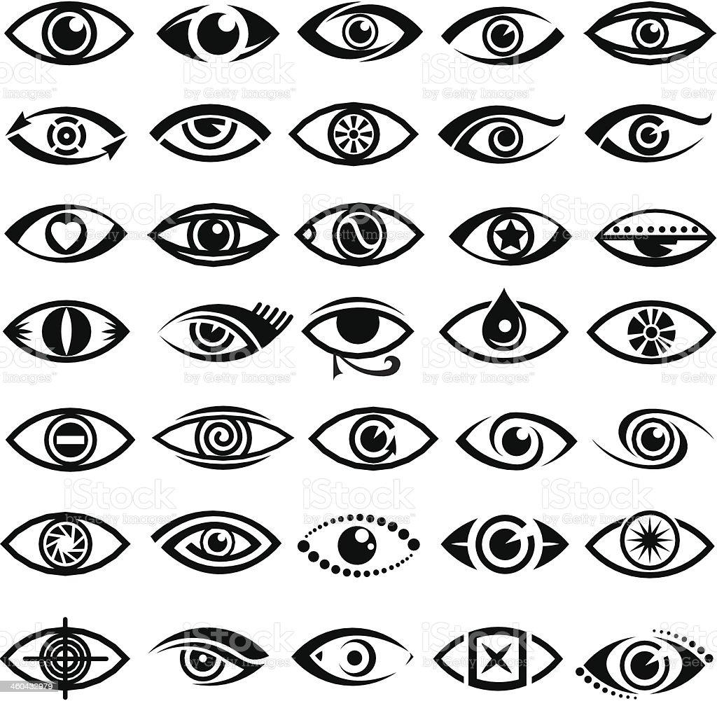 eyes icons vector art illustration